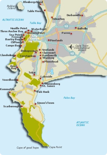 Map of Cape Town South Africa Cape Town Map